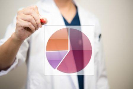 円グラフを描く男性医師